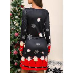 Imprimeu Mâneci Lungi De schimb Până la Genunchi Crăciun/Casual Tunică Elbiseler