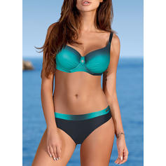 Cintura Baja Color de Empalme Correa Sexy Bikinis Trajes de baño