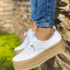 Women's PU Flats Round Toe With Lace-up shoes