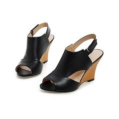 Kvinnor Konstläder Kilklack Sandaler Kilar Peep Toe Slingbacks med Ihåliga ut skor