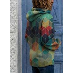 Geometric Print Long Sleeves Hoodie