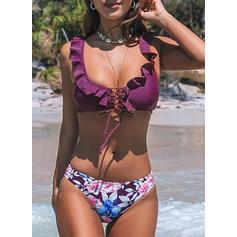 Низкая талия Распечатать Ремень V шеи сексуальный свежий Bikinis купальников