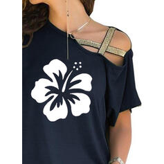 Print Floral One-Shoulder Short Sleeves Casual Blouses