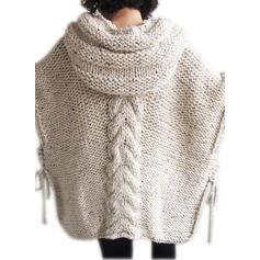 Jednobarevné Copánkový vzor Hrubá pletenina S kapucí Oversize Neformální Svetrové šaty