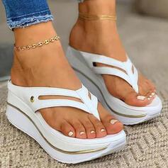 Mulheres PU Plataforma Sandálias Chinelos Chinelos com Oca-out Cor sólida sapatos