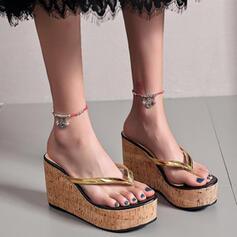 Dla kobiet PU Obcas Koturnowy Sandały Platforma Koturny Japonki Kapcie Obcasy Z Tkanina Wypalana Drewno obuwie