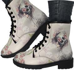 Mulheres PU Salto baixo Botas Martin botas com Bordados sapatos