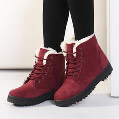 Donna Camoscio Senza tacco Ballerine Stivali con Allacciato scarpe