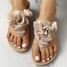 Kvinner PU Flat Hæl Sandaler Flate sko Flip-Flopper Tøfler med Blomst Elastisk bånd sko