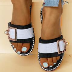 Kvinner PVC Flat Hæl Sandaler Titte Tå Tøfler med Spenne sko