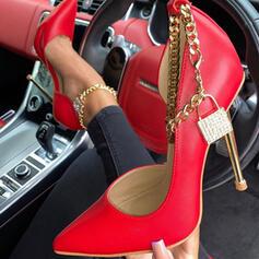 Dla kobiet PU Obcas Stiletto Czólenka Zakryte Palce Spiczasty palec u nogi Z Łańcuszek Tkanina Wypalana obuwie