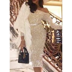 Sequins Long Sleeves Bodycon Knee Length Party Dresses