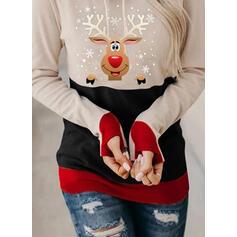 Animal Print Long Sleeves Christmas Sweatshirt