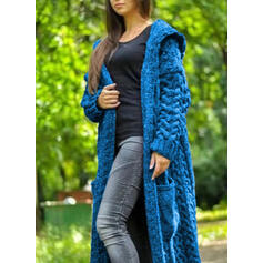 Solid Cable-knit Pocket Hooded Casual Long Cardigan