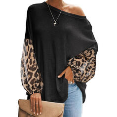 Print Leopard One-Shoulder Long Sleeves Casual Blouses