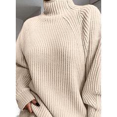 Sólido Punto Grueso Cuello De Tortuga Casuales Largo Vestido de Suéter