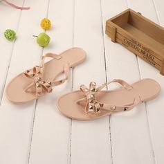 Kvinnor PVC Flat Heel Sandaler Peep Toe Tofflor med Nita skor