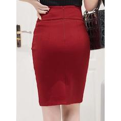 Algodón Color sólido Hasta la rodilla Faldas Lápiz
