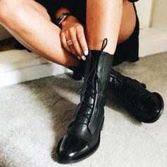 Pentru Femei PU călcâi Botine cu Lace-up pantofi