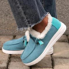 Women's PU Flat Heel Ankle Boots Snow Boots Round Toe Winter Boots With Lace-up Faux-Fur shoes