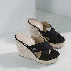 Női Szarvasbőr Ékelt sarkú Szandál Ékelt szandál Papucs cipő