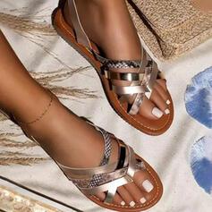 Dla kobiet PU Płaski Obcas Sandały Plaskie Otwarty Nosek Buta Kapcie Z Tkanina Wypalana Paski obuwie