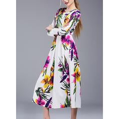 Nadrukowana Długie rękawy W kształcie litery A Elegancki/Boho/Wakacyjna Midi Sukienki
