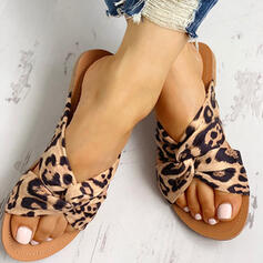 Women's Silk Flat Heel Sandals Peep Toe Slippers With Animal Print shoes