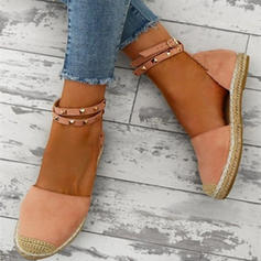 Mulheres Camurça Salto baixo Sandálias com Rivet sapatos