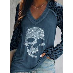 Sequins Leopard V-Neck Long Sleeves Casual T-shirts