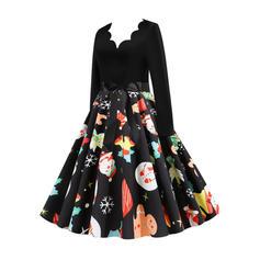 Estampado Manga Comprida Evasê Comprimento do joelho Vintage/Natal/Festa/Elegante Skatista Vestidos