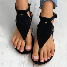 Mulheres Camurça Sem salto Sandálias Sem salto Peep toe Chinelos com Fivela Flor sapatos