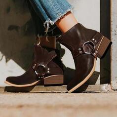 Női PU Chunky sarok Bokacsizma Hegyes orr -Val Csat Cipzár Egyéb cipő