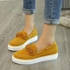 Femmes Suède Talon plat Chaussures plates avec Une fleur chaussures