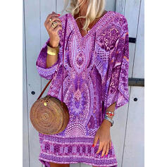 Print 3/4 Sleeves Shift Above Knee Casual/Boho/Vacation Dresses