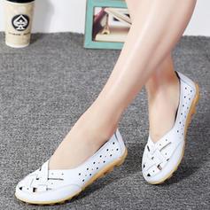 Bayanlar Gerçek deri Düz topuk Flats Ile Oymak ayakkabı