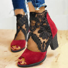 Women's Suede Mesh Chunky Heel Sandals Pumps Ankle Boots Heels With Zipper shoes