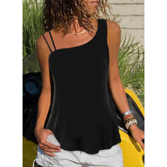 Solid One-Shoulder Sleeveless Casual Tank Tops