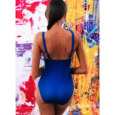 Impresión Color de Empalme Correa Cuello en V Talla extra Una pieza Trajes de baño