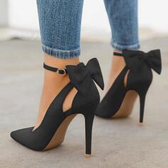 Bayanlar Mikrofiber Deri Topuklu ayakkabı Pompalar Ile İlmek ayakkabı