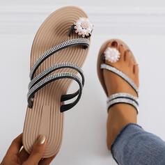 Сандалии Peep Toe Домашние тапочки с горный хрусталь Имитация жемчуга обувь