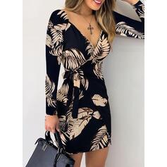 Print Long Sleeves Sheath Above Knee Elegant Wrap Dresses