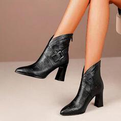 Dla kobiet PU Obcas Slupek Botki Spiczasty palec u nogi Z Klamra Zamek błyskawiczny Sznurowanie obuwie