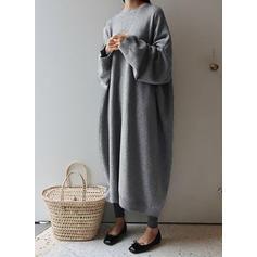 Sólido Manga Larga Tendencia Suéter Casual Maxi Vestidos