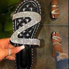 Bayanlar PU Düz topuk Sandalet Flats Peep Toe Terlik Ile Yapay elmas Parlak parıltı ayakkabı