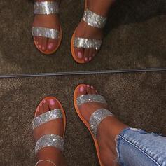Kvinner PU Flat Hæl Sandaler Flate sko Titte Tå Tøfler med Rhinestone sko