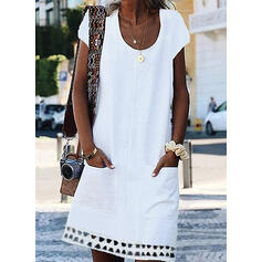 Solid Short Sleeves Shift Above Knee Casual Dresses