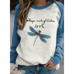 Color Block Animal Print Figure Round Neck Long Sleeves Sweatshirt