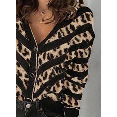 Color Block Leopard V-Neck Casual Cardigan