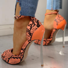 Kvinnor PU Stilettklack Pumps med Spänne Animaliska Tryck skor